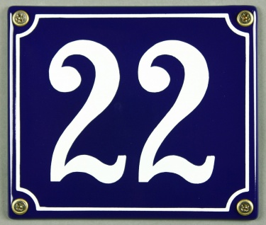 Hausnummernschild Emaille 22 blau - weiß 12x14 cm sofort lieferbar Schild Ema...