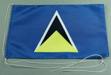 Tischflagge St. Lucia 25x15 cm optional mit Holz- oder Chromständer Tischfahn...