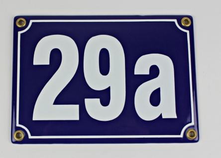 29a blau Blockschrift 17x12 cm sofort lieferbar 3-stellig Schild Emaille Haus...