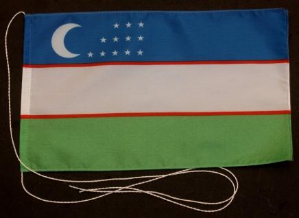 Tischflagge Usbekistan 25x15 cm optional mit Holz- oder Chromständer Tischfah...