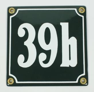 39b grün Clarendon 12x12 cm sofort lieferbar Schild Emaille Hausnummer