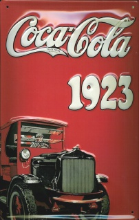 Blechschild Coca Cola 1923 Oldtimer Lieferwagen Schild retro Nostalgieschild