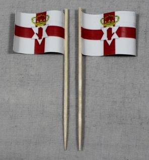 Party-Picker Flagge Nordirland Papierfähnchen in Spitzenqualität 50 Stück Beutel