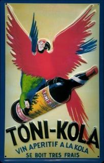 Blechschild Toni Kola Vin Aperitif Papagei Schild retro Werbung Nostalgieschild