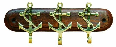 Schlüsselhaken 3 Anker Holz / Messing - Vorschau
