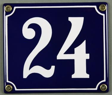 Hausnummernschild Emaille 24 blau - weiß 12x14 cm sofort lieferbar Schild Ema...