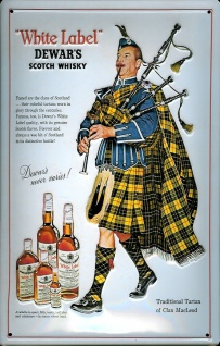 Blechschild Dewar's Scotch Whisky Dudelsackpfeifer Schild Dudelsack Werbeschild
