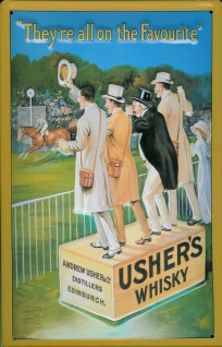 Blechschild Usher's Whisky Pferderennen Schild Pferd retro Werbeschild - Vorschau