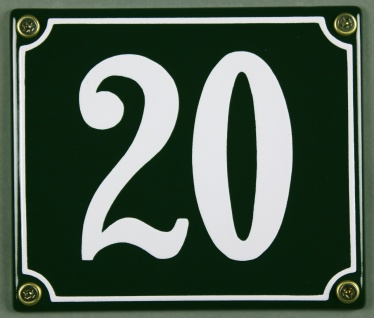 Hausnummernschild 20 grün 12x14 cm sofort lieferbar Schild Emaille Hausnummer...
