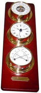 Schiffsuhr, Barometer , Thermo/Hygrometer auf Holztafel