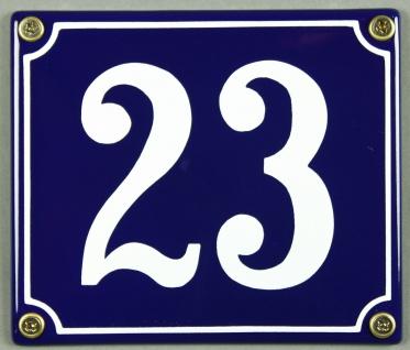 Hausnummernschild Emaille 23 blau - weiß 12x14 cm sofort lieferbar Schild Ema...