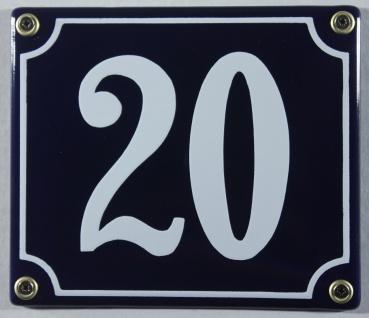 Hausnummernschild Emaille 20 blau - weiß 12x14 cm sofort lieferbar Schild Ema...