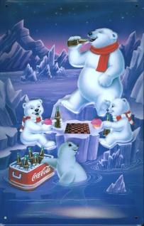 Blechschild Coca Cola Eisbären (1) Schach Coke Nostalgieschilde retro Schild
