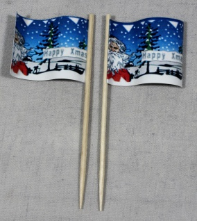 Party-Picker Flagge Weihnachten 5 Merry Xmas Papierfähnchen in Spitzenqualitä...