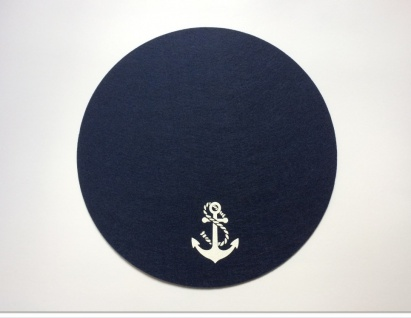 Platzset rund dunkelblau 2-teilig Anker und Schiff Filz Tischmatte - Vorschau 2