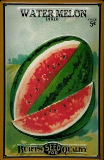 Blechschild Water Melon Wassermelone Gemüse Saatgut Schild Werbeschild