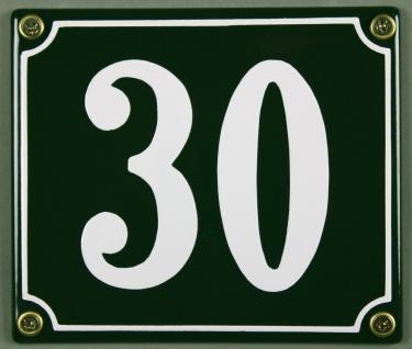Hausnummernschild 30 grün 12x14 cm sofort lieferbar Schild Emaille Hausnummer...