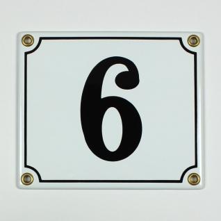 6 oder 9 weiß / schwarz Clarendon 14x12 cm sofort lieferbar Schild Emaille Ha...