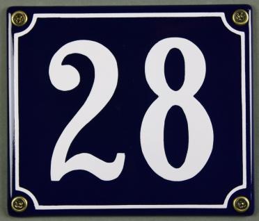 Hausnummernschild Emaille 28 blau - weiß 12x14 cm sofort lieferbar Schild Ema...