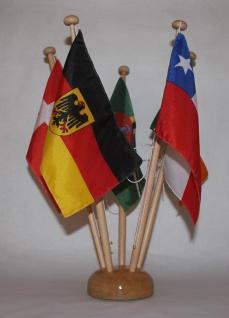 Tischflaggenständer Holz 5-fach in Profiqualität, Höhe 42 cm für 15x25 cm Tis...