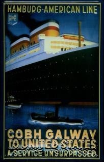 Bestbewertet echt Luxus-Ästhetik stylistisches Aussehen Blechschild Hapag Lloyd Hamburg American Line Cobh Galway Dampfer Schiff  Schi...