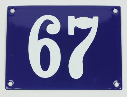 67 Ohne Rahmen blau Clarendon 12x18 cm sofort lieferbar Schild Emaille Hausnu...