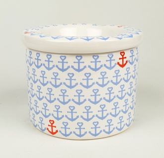 Maritimer Aschenbecher Anker hellblau weiß Ascher Ø 9cm