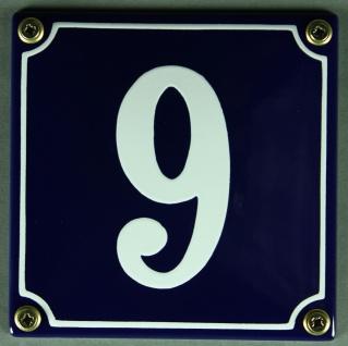 Hausnummernschild 9 blau - weiß 12x12 cm sofort lieferbar Schild Emaille Haus...