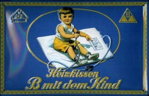 Blechschild Heizkissen B mit dem Kind DDR VEB Ostalgie Schild retro Werbeschi...