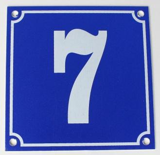 Hausnummernschild Aluminium Aluschild 1 mm Stärke Alu Schild Nr. 7 blau