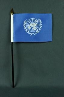 Kleine Tischflagge Uno Vereinte Nationen 10x15 cm optional mit Tischfähnchens...