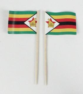 Party-Picker Flagge Simbabwe Afrika Papierfähnchen in Spitzenqualität 50 Stüc...