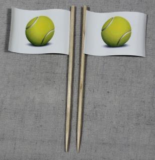Party-Picker Flagge Tennisball Tennis Papierfähnchen in Spitzenqualität 50 St...