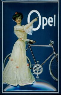 Blechschild Opel Fahrrad mit Frau Schild Nostalgieschild