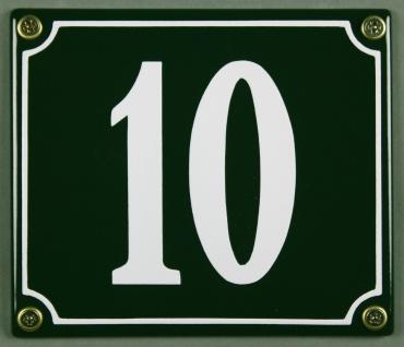 Hausnummernschild 10 grün 12x14 cm sofort lieferbar Schild Emaille Hausnummer...