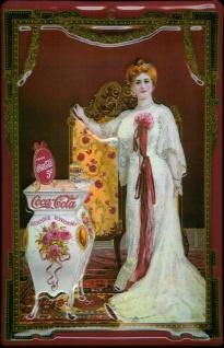 Blechschild Coca Cola Dame Frau Diva 5 Cents Nostalgie Schild Werbeschild