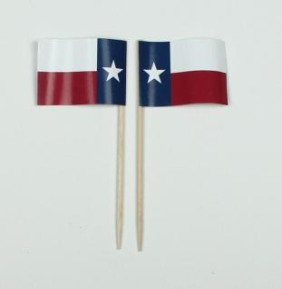 Party-Picker Flagge Texas USA Bundesstaat Papierfähnchen in Spitzenqualität 5...