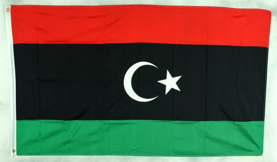 Flagge Fahne Libyen neu Halbmond Libyenflagge Nationalflagge Nationalfahne Ly...