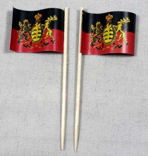 Party-Picker Flagge Württemberg Papierfähnchen in Spitzenqualität 50 Stück Be...