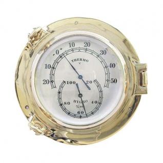 Thermometer / Hygrometer im Bullauge 18cm Messing