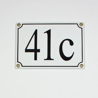41c weiß Serif 18x12 cm sofort lieferbar 3-stellig Schild Emaille Hausnummer