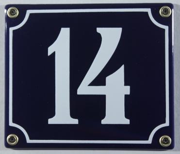 Hausnummernschild Emaille 14 blau - weiß 12x14 cm sofort lieferbar Schild Ema...