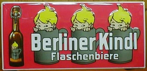 Blechschild Berliner Kindl Flaschenbiere Schild retro Bier Nostalgieschild