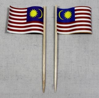 Party-Picker Flagge Malaysia Papierfähnchen in Spitzenqualität 50 Stück Beutel