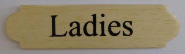 Eckiges Holz - Türschild Ladies 3x12 cm helles Holzschild