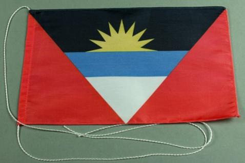Tischflagge Antigua 25x15 cm optional mit Holz- oder Chromständer Tischfahne ...