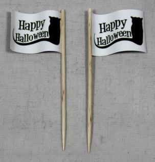 Party-Picker Flagge Happy Halloween Katze Papierfähnchen in Spitzenqualität 5...