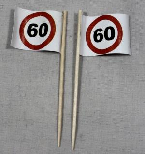 Party-Picker Flagge Tempo 60 Verkehrszeichen Papierfähnchen in Spitzenqualitä...
