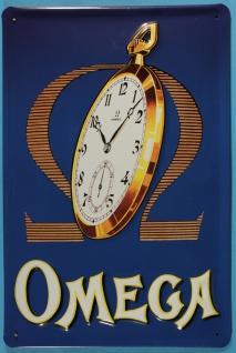 Blechschild Nostalgieschild Omega Taschenuhr schweizer Uhr Vintage Werbeschild
