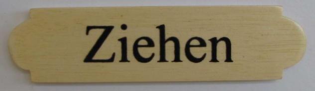 Eckiges Holz - Türschild Ziehen 3x12 cm helles Holzschild